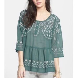 Free People Sheer Teal Embroidered Blouse